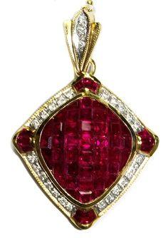 A Gorgeous 18K Yellow Gold Genuine Diamond Gemstone Ruby Pendant at http://amzn.to/1TM7gKu Price:$3,325.00