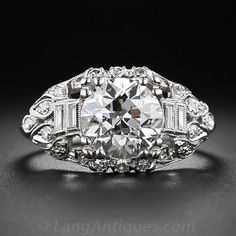 2.42 Carat Platinum and Diamond Engagement Art Deco Ring, only $29,750.00.  Lang Antiques