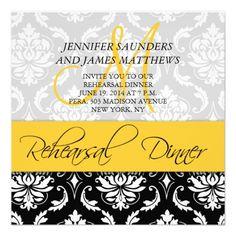 Rehearsal Dinner Invite Damask Monogram Yellow