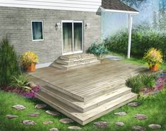 The elegance of this wooden terrace built directly on the ground is reflected in its simplicity and symmetry. A flower box adds an amusing touch to this model. Patio Deck Designs, Backyard Garden Design, Deck Steps, Deck Landscaping, Rustic Pergola, Wooden Terrace, Diy Deck, Deck Plans, Decks And Porches