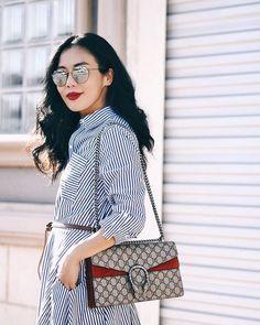Shirt Dress & Gucci Dionysus GG Bag