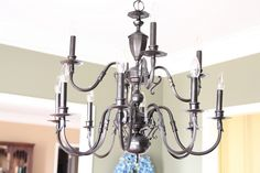 Let there be {non-brassy} Light! Spay your shiny gold chandelier with Oil Rubbed Bronze-looks so great!