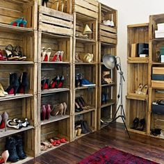 rangement de chaussures original, rangement en palettes