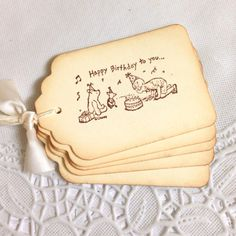 Happy Birthday to You Classic Winnie the Pooh Tags on Etsy, $9.00