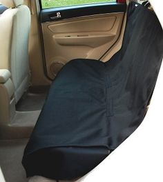 Krunco Waterproof Pet Bench Seat Cover - this bench pet seat cover has a non-skid soft rubber backing and elastic strips at each corner to keep in in place even on leather seats.  View additional dog front and back seat covers at site.