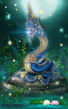 Nāga ☸️ Serpent devas could change size from small snakes to large dragons. Snake Dragon, Dragon Art, Thai Design, Legendary Dragons, Thailand Art, Lord Vishnu Wallpapers, Snake Art, Buddha Art, Thai Art