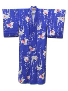 ☆ New Arrival☆ 'Almost Blue' #blue #silk #vintage #Japanese #kimono with #lily #flower from #FujiKimono http://www.fujikimono.co.uk/fabric-japanese/almost-blue.html