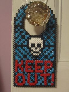 Keep Out! Skull Door Hanger perler beads by Angela Albergo (Skull and Letters are glued on)