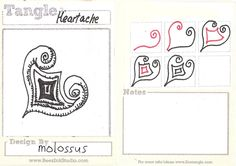 Life Imitates Doodles: My tangle patterns: Heartache, Lachrymose, Mangle and Spindle by Sandra Strait