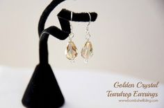 Make simple but lovely golden crystal teardrop earrings using this simple jewelry making tutorial.