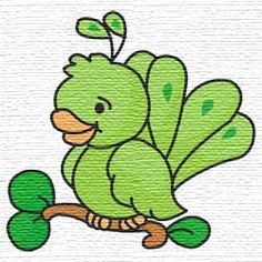 Free embroidery designs  cute green bird