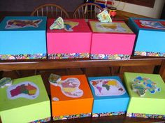 Geography Continent Boxes - In it put stories from that continent; flashcards, postcards, pictures or printouts; maps; recipes; crafts; toy animals from that continent... I like the idea of keeping things in the box that the little ones will enjoy playing with or coloring while I teach the older ones their lesson.