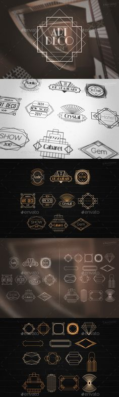 Art Deco Gatsby Style Badges Logos Template PSD, Vector EPS, AI Illustrator