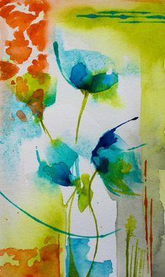 Petit instant N° 303 (Painting),  15x8 cm par Véronique Piaser-Moyen aquarelle originale sur papier 300 G