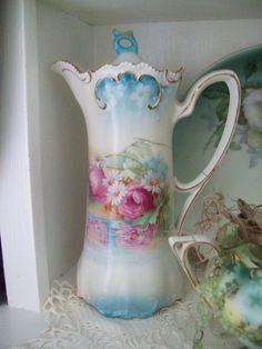 FREE SHIP vintage cocoa pot tea pot coffee pot by TheHumbleCottage, $65.00