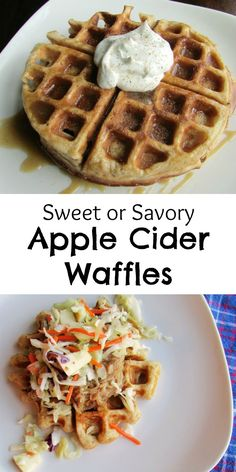 These Apple Cider Waffles can be made sweet or savory.  There are so many fun toppings you could use!  Fall flavor has arrived!