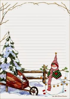 papiers a lettres, papers Plus Christmas Writing, Christmas Frames, Christmas Paper, All Things Christmas, Christmas Cards, Paper Decorations, Christmas Decorations, To Do Planner, Illustration Noel
