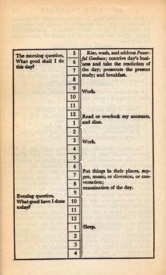 Benjamin Franklin's daily schedule. To find success, it never hurts to emulate successful people.