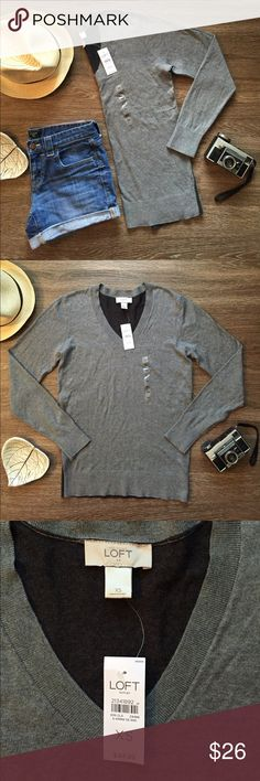 SALE 🔴 LOFT Outlet V Neck Sweater! Super Soft Brand New LOFT Outlet gray sweater!                                   • Size XS                                                                               • Brand New With Tags.                                                         • Features a v neck with the back of the sweater a dark grey. LOFT Sweaters V-Necks