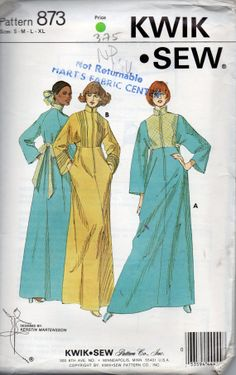 Kwik Sew 873 1970s Misses Ankle Length Zip Front ROBE Pattern Dolman Sleeve Womens  Vintage Sewing Patterns Size S M L XL Bust 32 - 45 UNCUT e106c0b1f