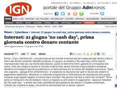 """13/06/2011 - Adnkronos Internet: 21 giugno """"no cash day"""", prima giornata contro denaro contante"""