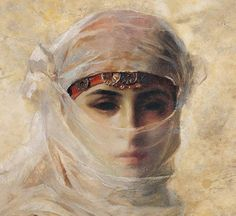 "1880 ~ ""Veiled Woman (detail)"" Théodore Jacques Ralli or Theodorus Rallis Greek Painter, Watercolourist & Draughtsman . Arabian Art, Classical Art, Portrait Art, Aesthetic Art, Female Art, Art Inspo, Amazing Art, Veil, Fantasy Art"