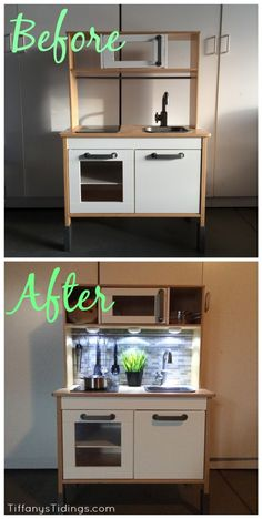 Ikea Hack: DIY Ikea Duktig Facelift Ha, the LOs will never appreciate the style of this like the adults but it's still a cool facelift idea. Like Mommy's kitchen :)