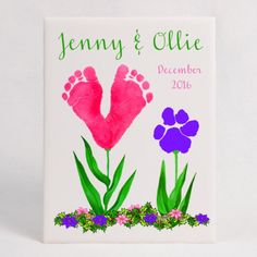 Footprint Flowers and Paw Print Flowers 8 x 10 Ceramic Tile Plaque, using your child's footprints and pet's paw prints. Special holiday gift. Tiles come in a variety of sizes and make beautiful gifts to treasure! We can customize and personalize for you!