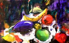 L'aubergine - Original still life mixed media painting on canvas by PapeMoe on Etsy