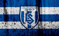 Download wallpapers FC Lausanne-Sport, 4K, logo, stone texture, grunge, Switzerland Super League, football, emblem, Lausanne, Switzerland