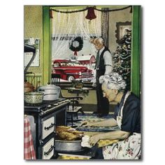 Vintage Old Fashioned Home Kitchen Christmas Post Card