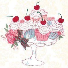 Embroidered cupcakes