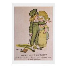 Vintage Medicine Poster  Adorable vintage poster for Hood's Olive Treatment - the best family salve. Featured an illustration of a ...
