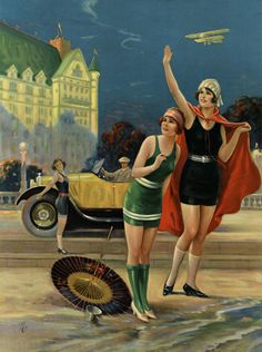 CHARLES RELYEA 1920S FLAPPERS AVIATION AUTOMOBILIA MACHINE AGE PIN UP PRINT