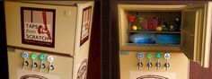 Rent a Pub-Hub for a DIY bar area. It's a fridge that has been converted to a beer dispenser and has space for liquors