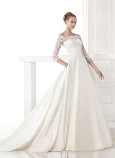 Wedding Dresses - $212.19 - A-Line/Princess Off-the-Shoulder Chapel Train Satin Lace Wedding Dress (0025063222)