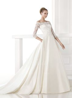 Wedding Dresses - $212.19 - A-Line/Princess Off-the-Shoulder Chapel Train Satin Lace Wedding Dress (0025063222)