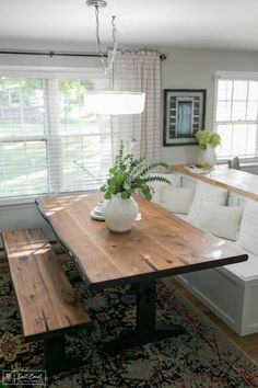 A farmhouse kitchen needs the perfect farmhouse table, and this Scott Living Liv. A farmhouse kitchen needs the perfect farmhouse table, and this Scott Living Live Edge Dining Table Kitchen Table Bench, Farmhouse Table, Kitchen Decor, Farmhouse Ideas, Bench Dining Room Table, Built In Dining Room Seating, Dining Rooms, Booth Seating In Kitchen, Kitchen Booths