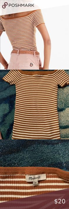 Madewell Striped Off the Shoulder Top Madewell, Off The Shoulder, Copper, Stains, Type, Womens Fashion, Closet, Things To Sell, Women's Fashion