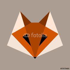 Geometric fox logo vector
