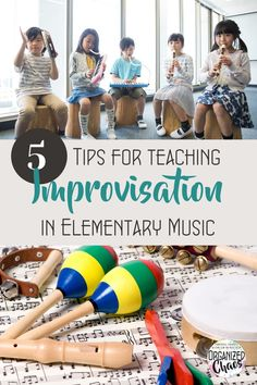 """With more focus on creating in the new National Core Arts Standards, more music teachers are looking at ways to incorporate improvisation and composition into their classrooms. It can be intimidating and nebulous to think through concrete ways to """"teach"""" improvisation, especially with young students, so I thought I would share some of my favorite tips and strategies for teaching improvisation today. Music Teachers, Music Classroom, Teaching Music, Elementary Music, Curriculum, Back To School, Concrete, Composition, Core"""