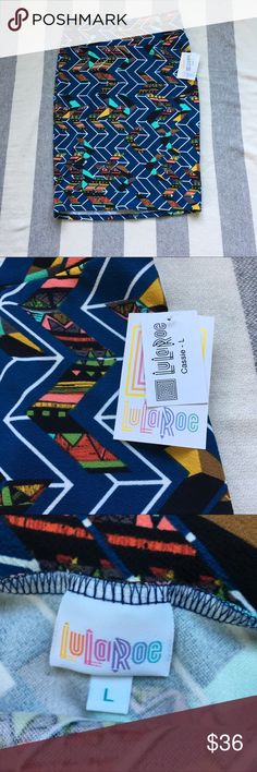 Lularoe Cassie Pencil Skirt Tribal Chevron L NWT, size L. Please view pictures for measurements LuLaRoe Skirts Pencil