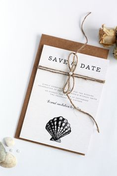 Pearl and String Rustic Save the Date Card,  Seashells, Beach, Premium Cardboard, New by Paradise Invitations by ParadiseInvitations on Etsy