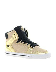 SUPRA Vaider gold hightops. okayy need these!