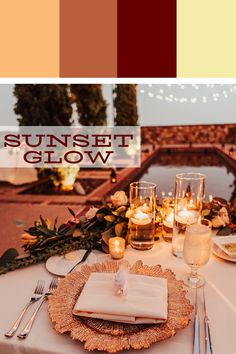 The sunset glow palette really makes an evening like this extra romantic. Sunset Color Palette, Glow Palette, Sunset Colors, Orlando Wedding Venues, Florida Wedding Venues, Wedding Goals, Wedding Events, Wedding Ideas, Tuscan Wedding