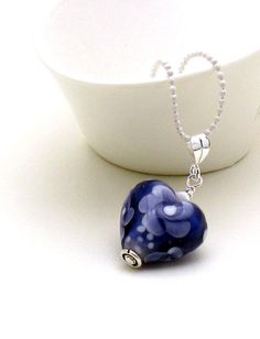 Indigo Blue Purple Heart Silver Necklace  My by cooljewelrydesign