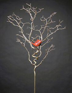 Organic with Bird 36: Charles McBride White: Metal Sculpture | Artful Home