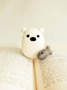 Pearl the Polar Bear with Fish - Needle Felted Wooly Animal Set - Woodland Nature Waldorf Decor Gift Cute Adorable Felt All Natural Wool