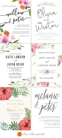Unique Wedding Invitations by Alexa Nelson Prints on Etsy
