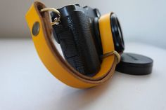 Quality leather wrist strap: Yellow by CameraObscuraco